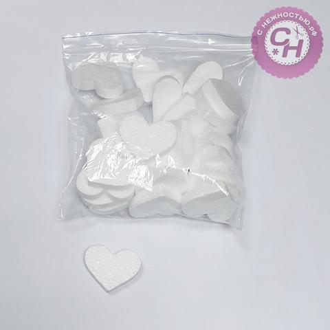 Сердце из пенопласта плоское мини, 5*4 см, набор 30 шт.