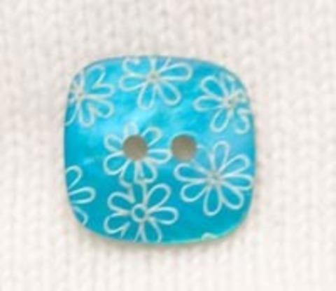 Пуговица перламутровая квадратная с белыми цветами, бирюзовая