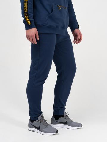 Спортивные штаны цвета  синего денима с манжетами, без лампасов