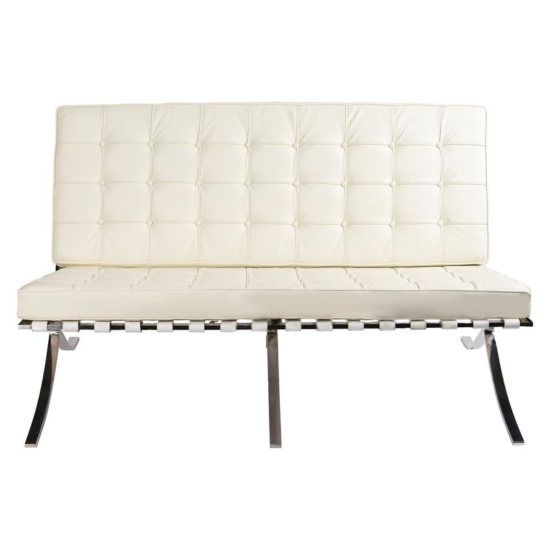 Диван Barcelona Style Loveseat Sofa белая кожа - вид 2
