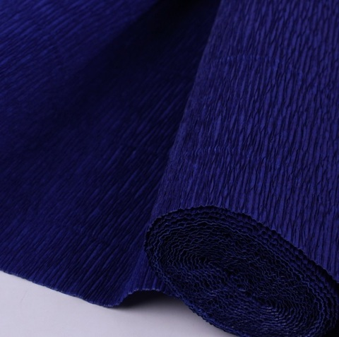 Бумага гофрированная, цвет 955 темно-синий, 140г, 50х250 см, Cartotecnica Rossi (Италия)