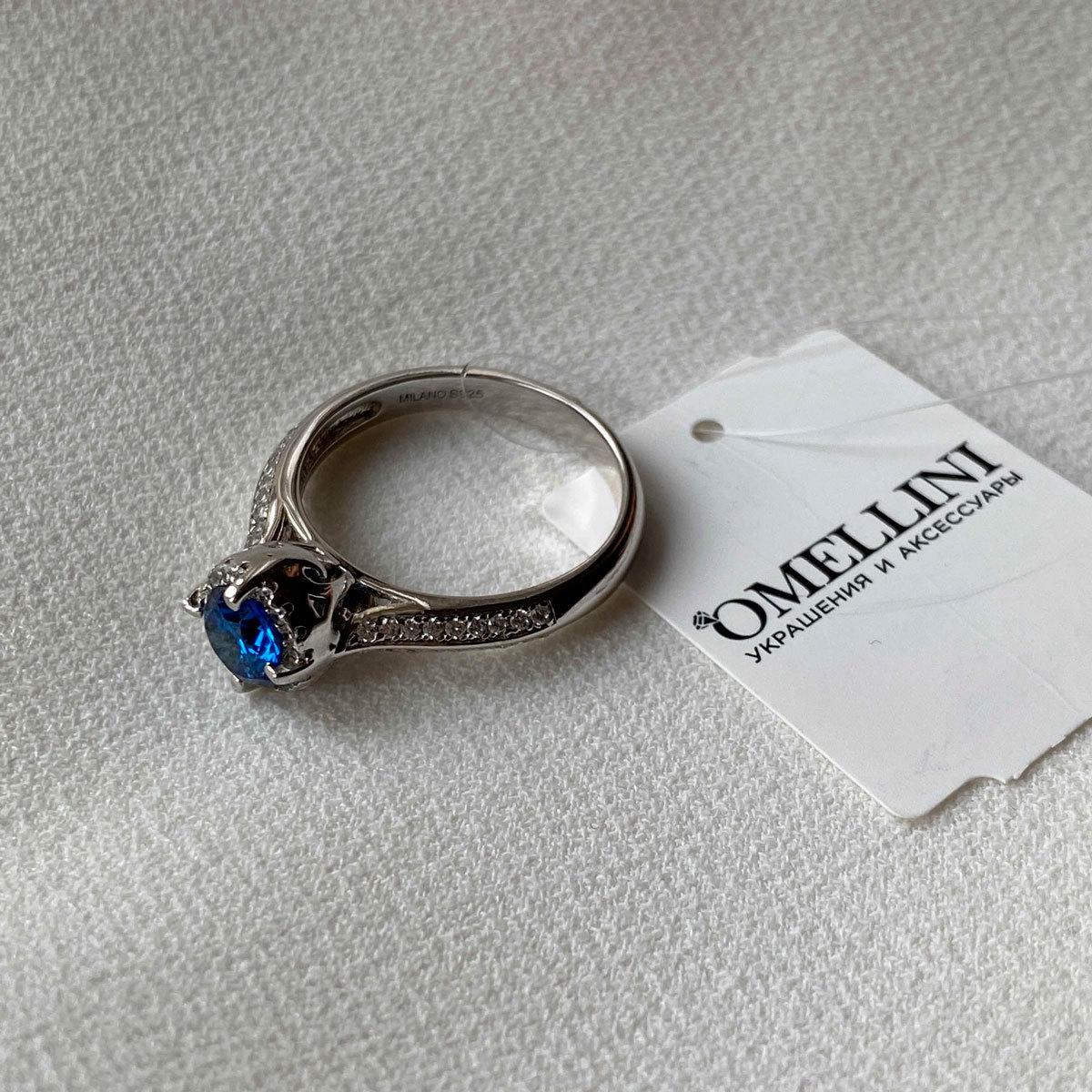 Кольцо с цирконом в фигурной розетке синий (серебро 925)
