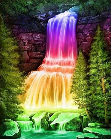 Алмазная Мозаика 5D 40x50 Радужный водопад (арт. 3DZX151)