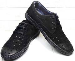 Дерби туфли мужские мокасины лето casual стиль Luciano Bellini 91754-S-315 All Black.