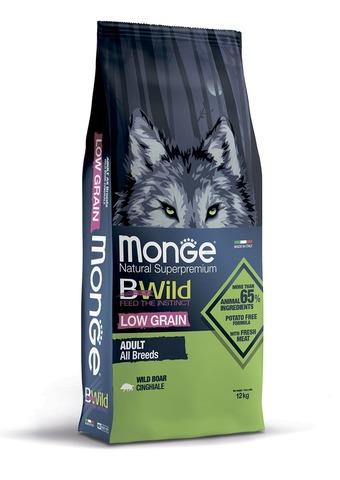 Monge Dog BWild Low Grain Сухой корм для взрослых собак всех пород из мяса дикого кабана, низкозерновой