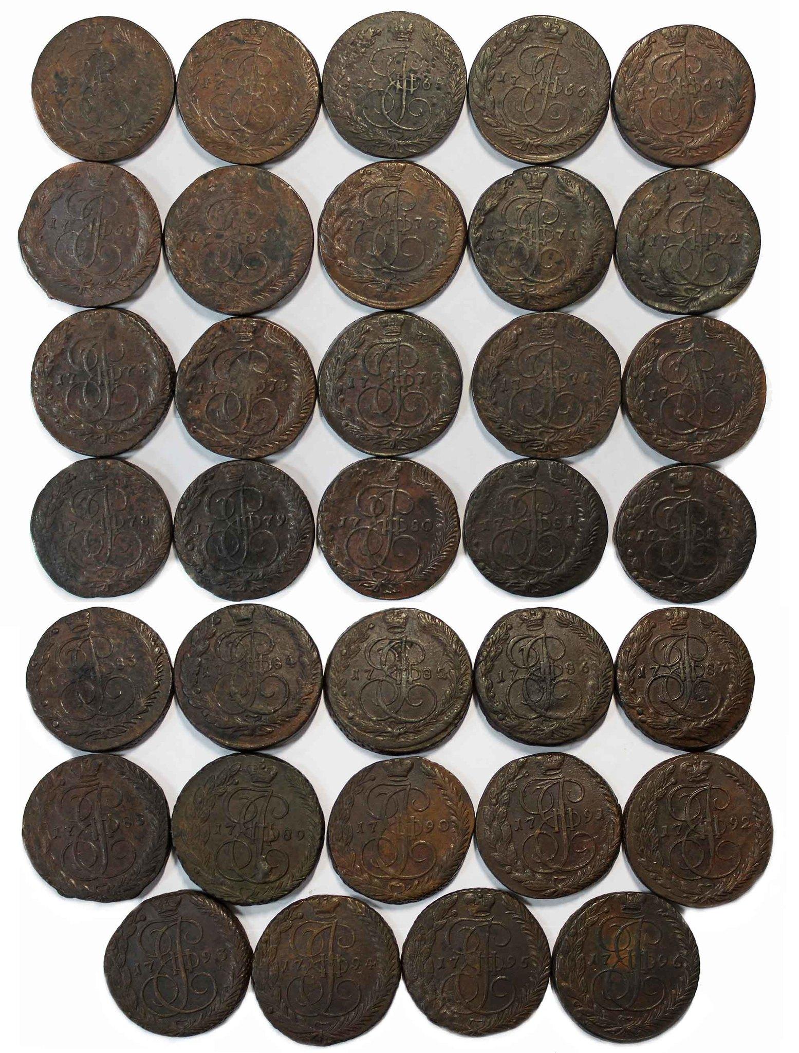 Полный набор 5 копеек Екатерина II 1763-1796 (34 монеты) №2