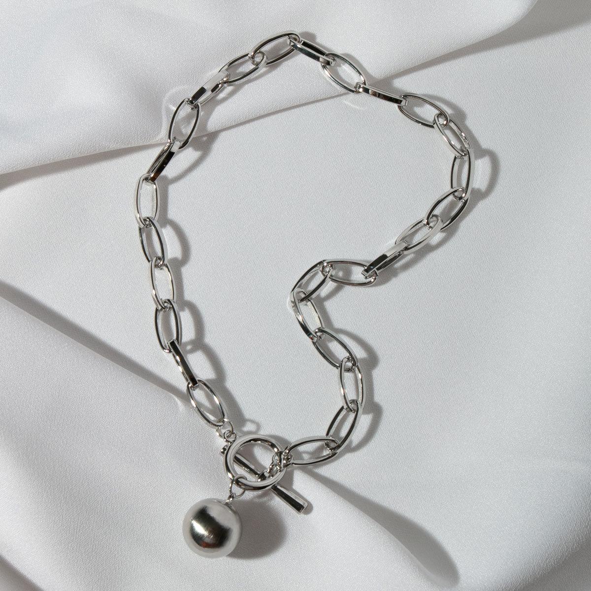 Колье-цепь с замком-тогл и подвеской-бусиной (серебряный)