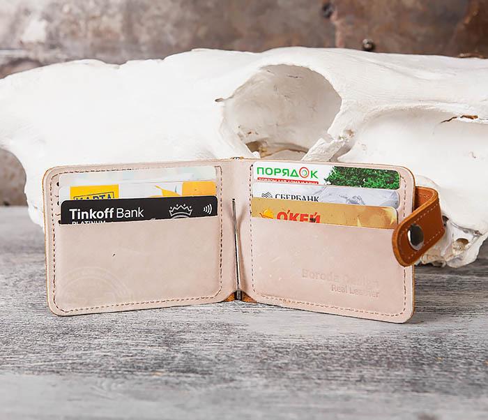 WB115-4 Кожаный зажим для денег ручной работы с застежкой фото 06