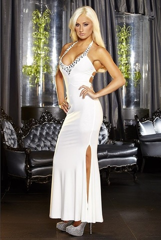 Белое вечернее платье в пол с нарядным декольте - Hustler Lingerie GOWN5