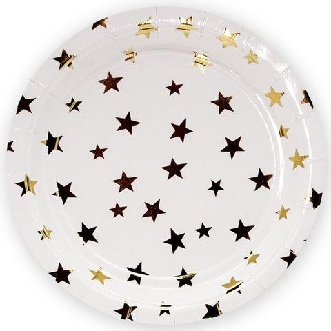 Тарелки (9''/23 см) Золотые звезды, Белый, 6 шт.