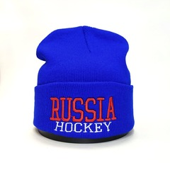 Вязаная шапка Русский хоккей (Russia hockey) голубая фото 1