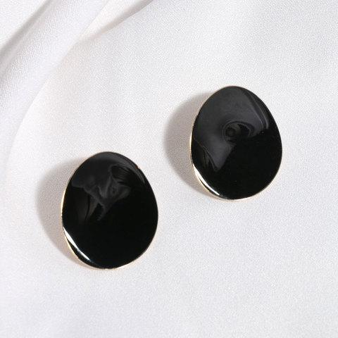 Серьги Овалы с эмалью (черный)