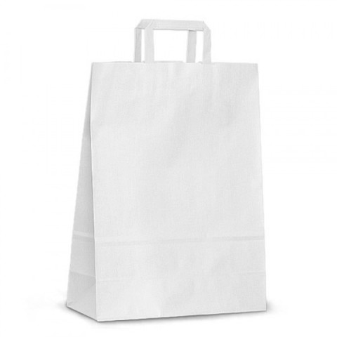 Бумажный пакет 240х140х280 мм с плоскими ручками белый крафт
