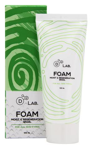 Пенка для умывания с муцином улитки, 100 мл, D2 Lab Foam Moist & Regeneration Snail