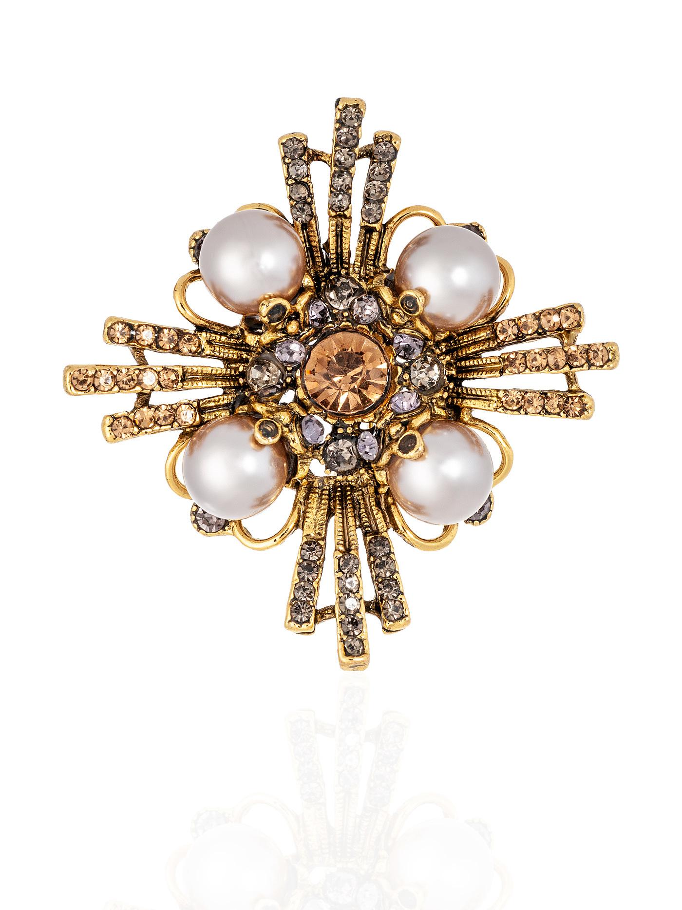 Брошь Орден с жемчугом и кристаллами, стильные подарки