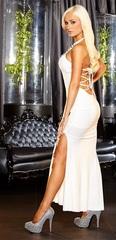 Белое вечернее платье в пол с нарядным декольте -