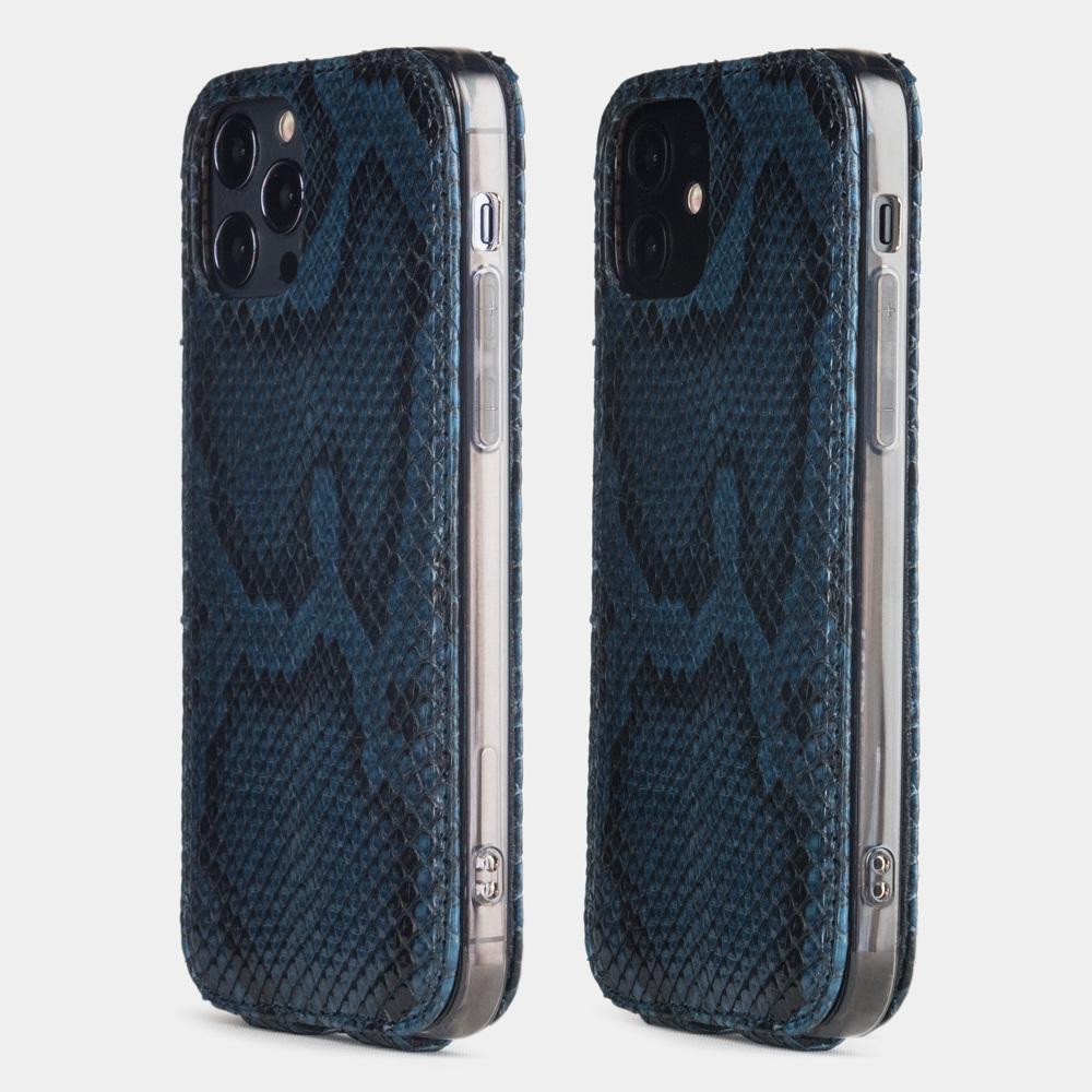 Чехол для iPhone 12/12Pro из натуральной кожи питона, синего цвета
