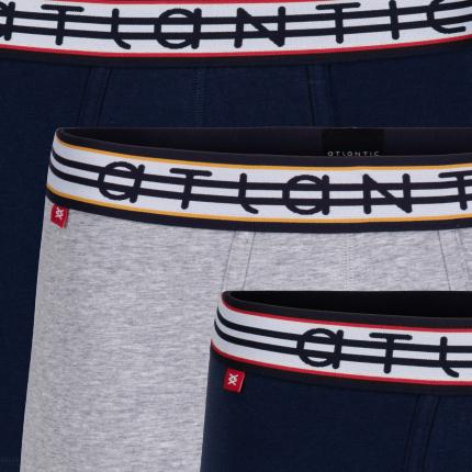 Мужские трусы шорты Atlantic, набор из 3 шт., хлопок, темно-синие + серый меланж, 3MH-013