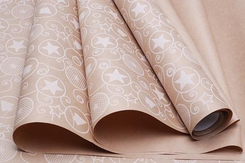 Бумага крафт 70г/м2, 70 см x 10 м, Гирлянда, цвет: белый
