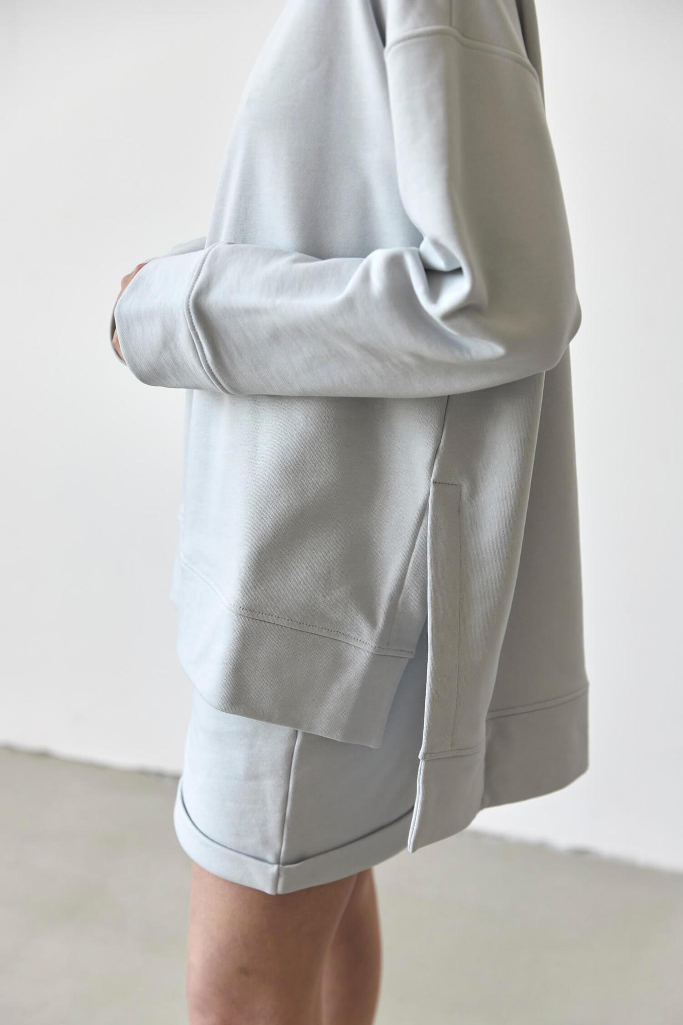 Свитшот из футера удлиненный, жемчужно-серый
