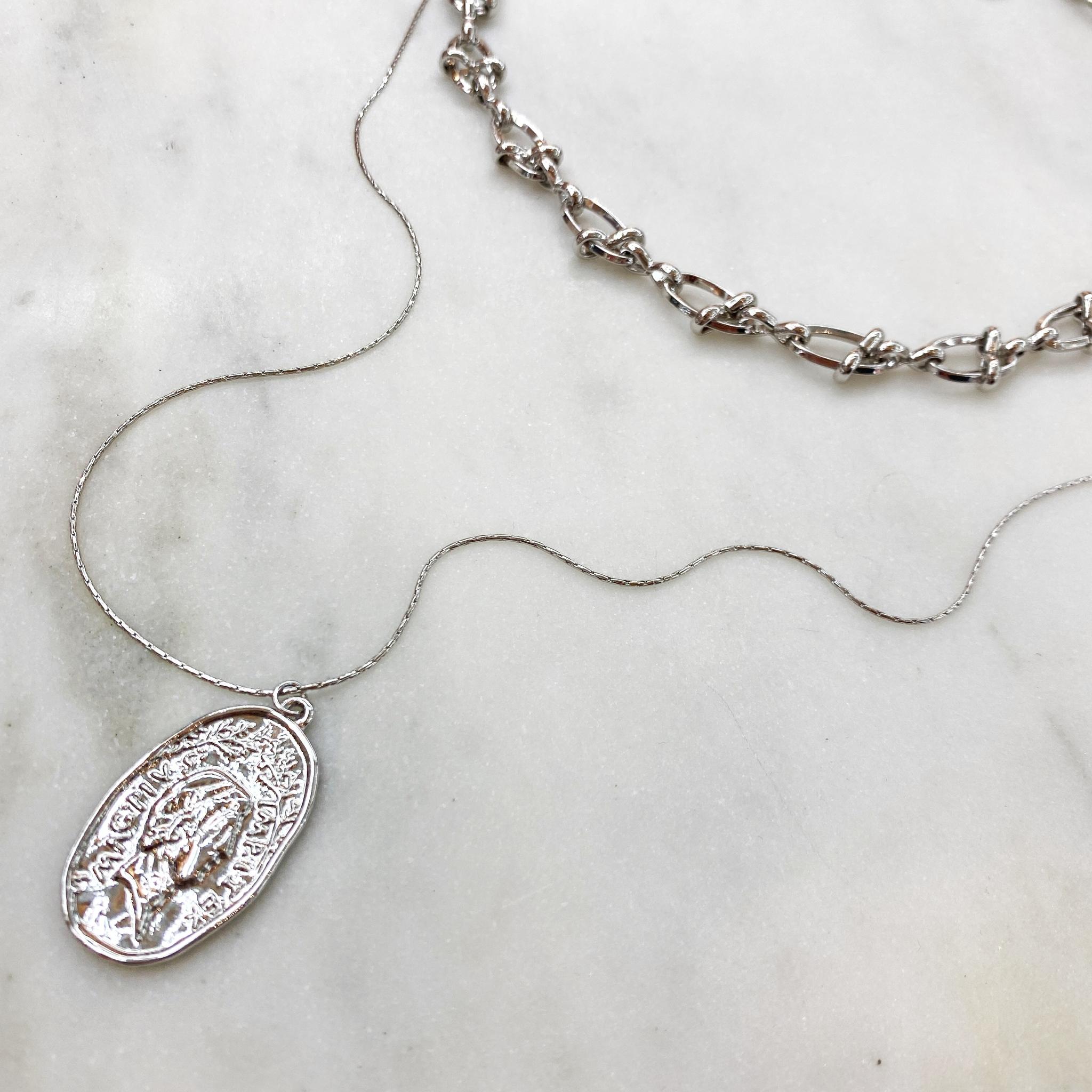 Сэт из Чокера и медальона на цепочке (серебристый)
