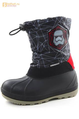 Зимние сапоги для мальчиков непромокаемые с резиновой галошей Звездные войны (Star Wars), цвет черный, Water Resistant. Изображение 1 из 16.