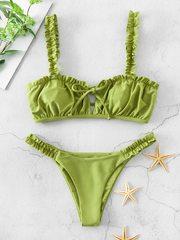 купальник раздельный бикини зеленый оливковый мини 1