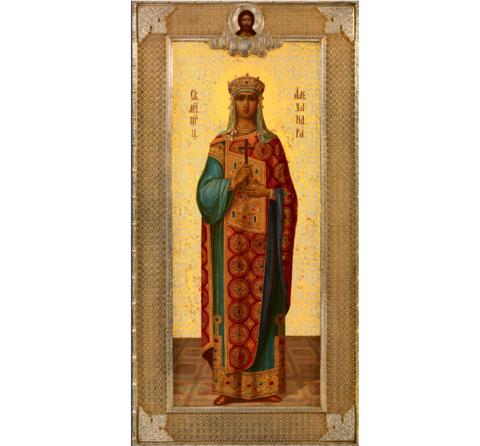 Икона святая мученица царица Александра на дереве на левкасе