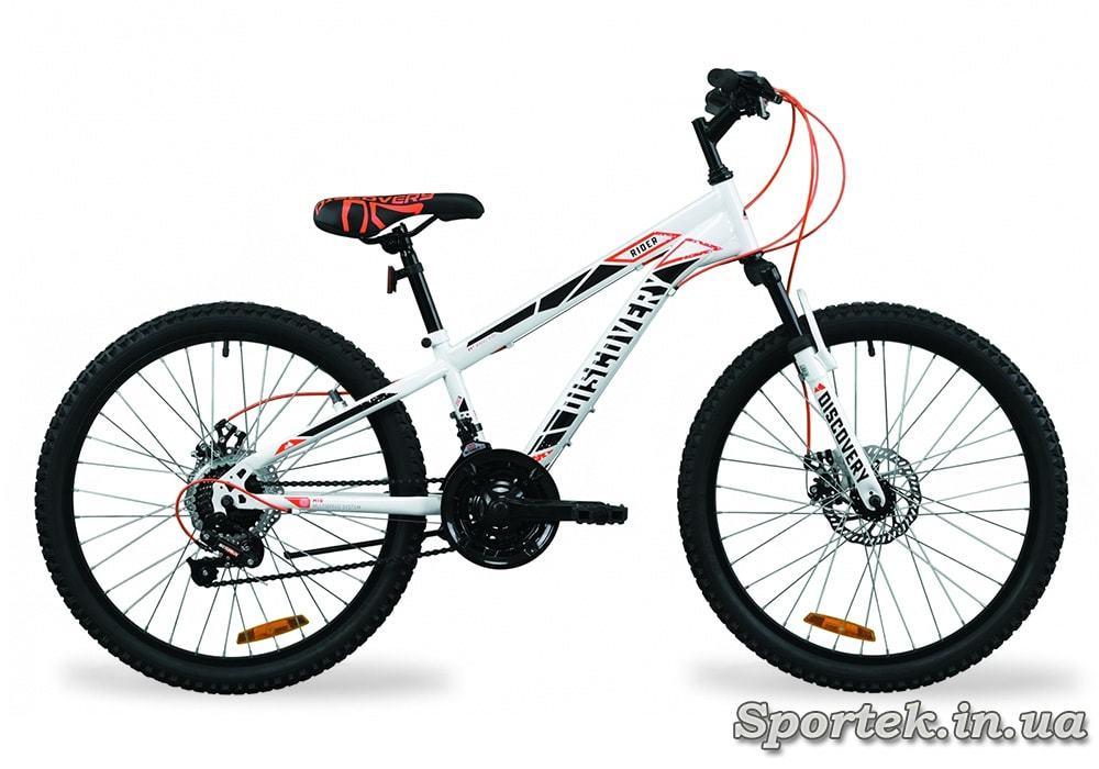 Бело-красно-серый горный подростковый велосипед Discovery Rider AM DD 2020 колеса 24