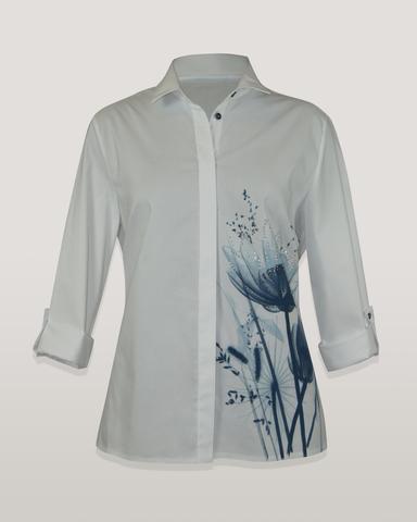 Блузка Kzara 2770 рубашка цветы стразы 3/4