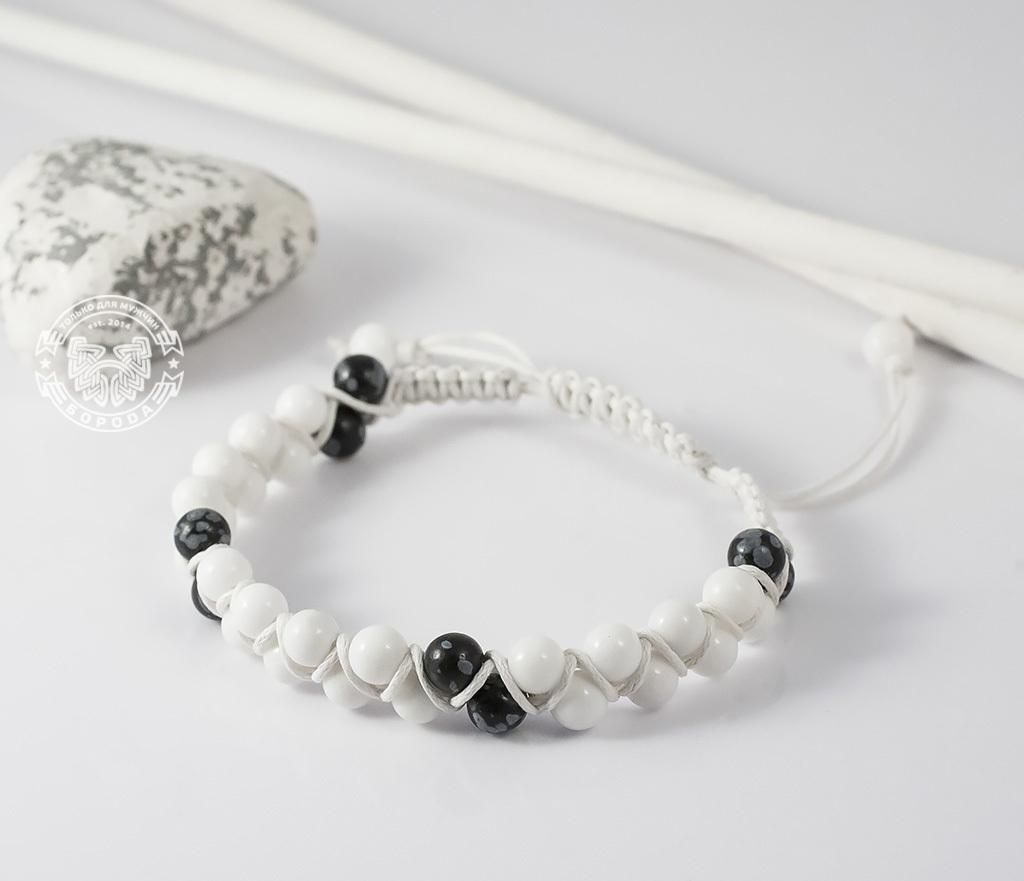 BS605 Белый мужской браслет шамбала ручной работы из натурального камня. «Boroda Design»