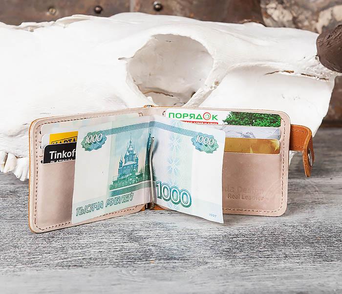 WB115-4 Кожаный зажим для денег ручной работы с застежкой фото 08