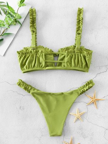 купальник раздельный бикини зеленый оливковый мини 2