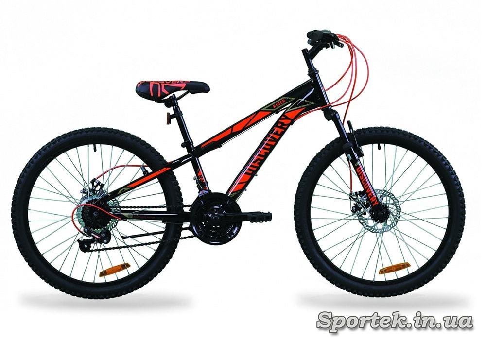 Черно-красный горный подростковый велосипед Discovery Rider AM DD 2020 колеса 24