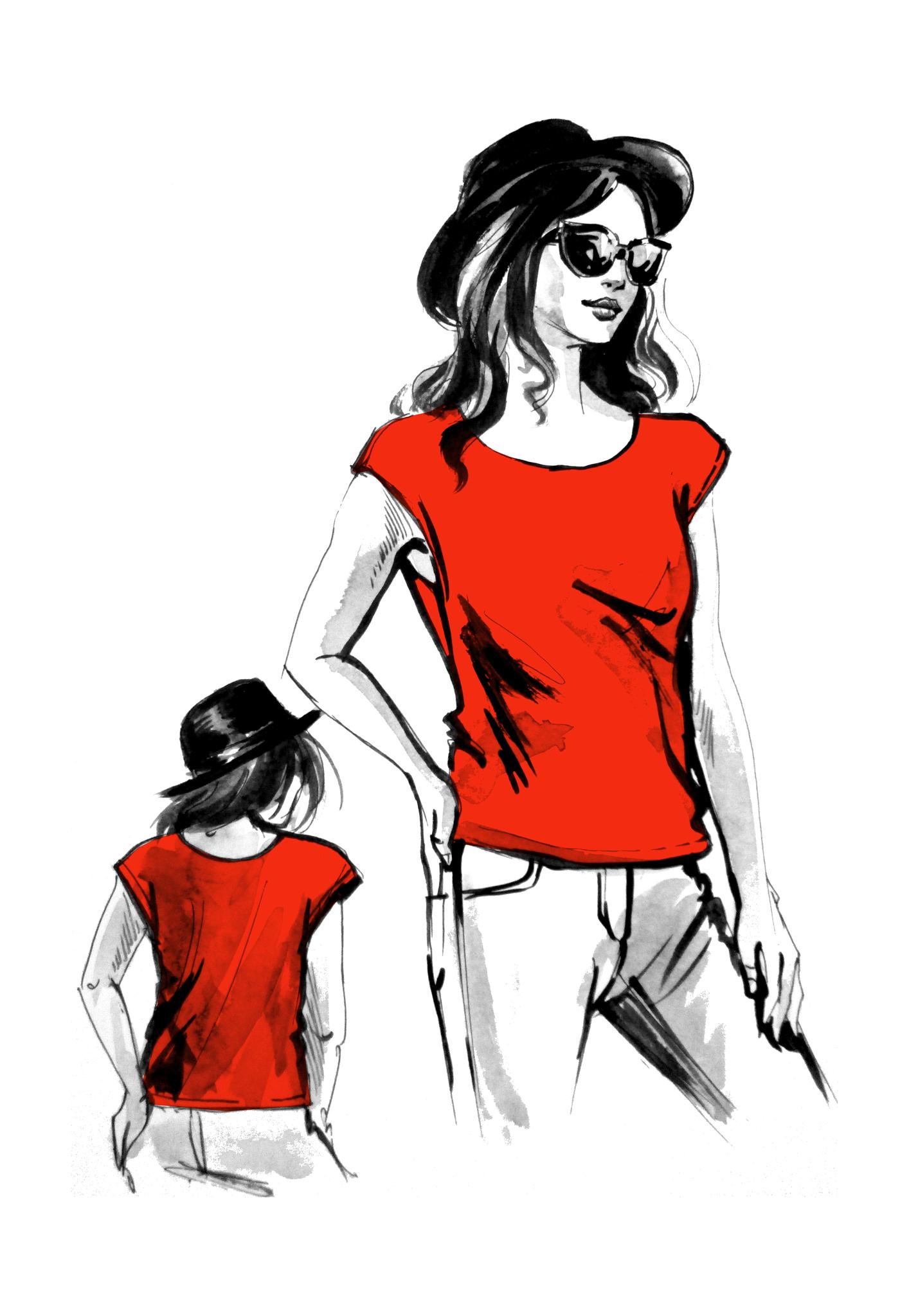Выкройка женской футболки со спущенной проймой