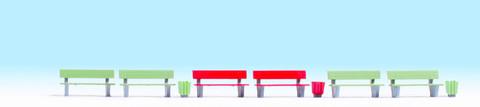 Скамейки + урны - 6+3 шт, (H0)