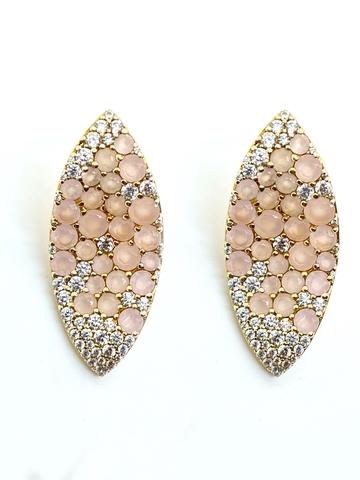 Серьги GIARDINI из серебра в лимонной позолоте с розовым кварцем в стиле Bruni