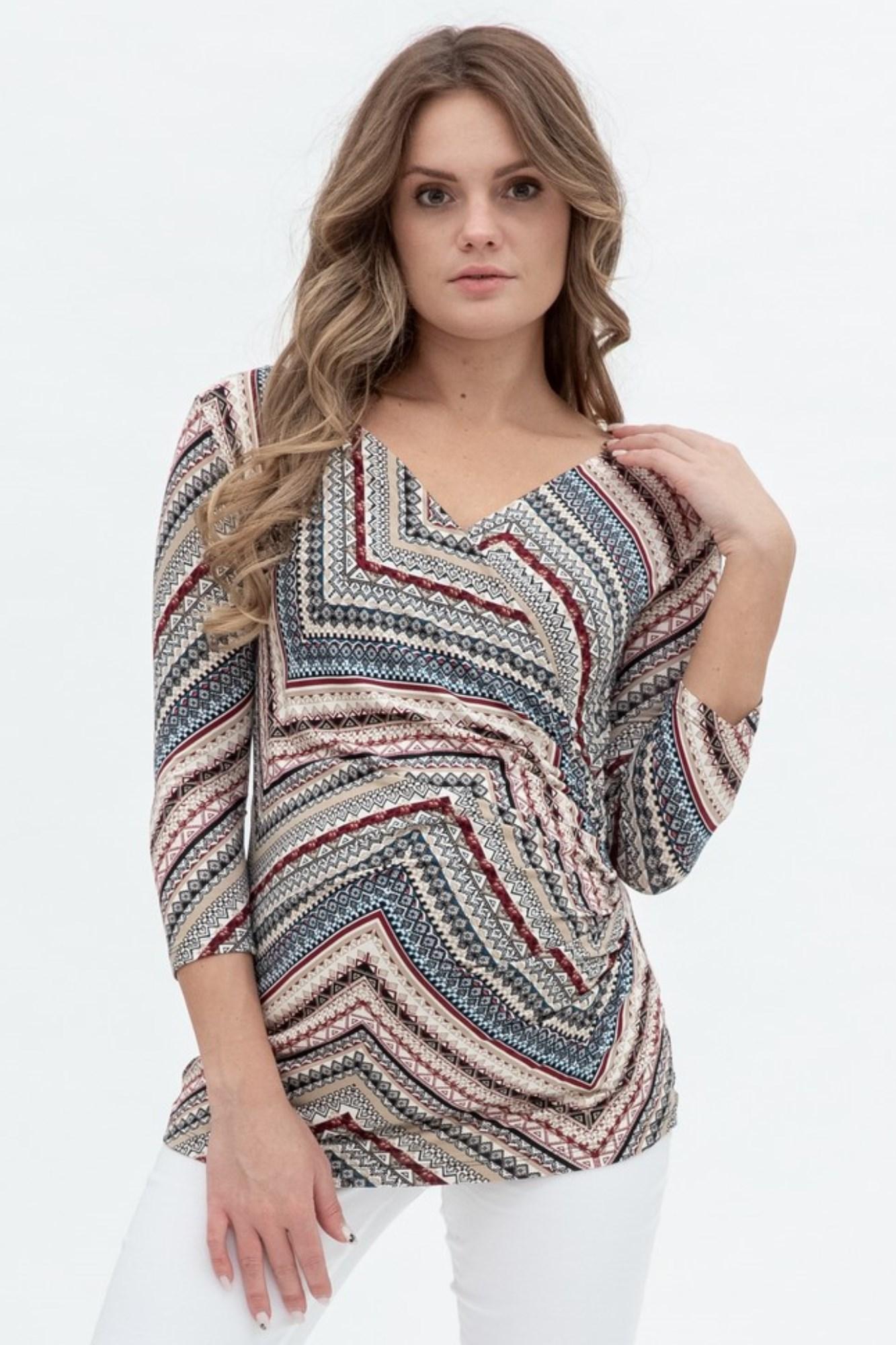 Блузка для беременных и кормящих 01201 узорный