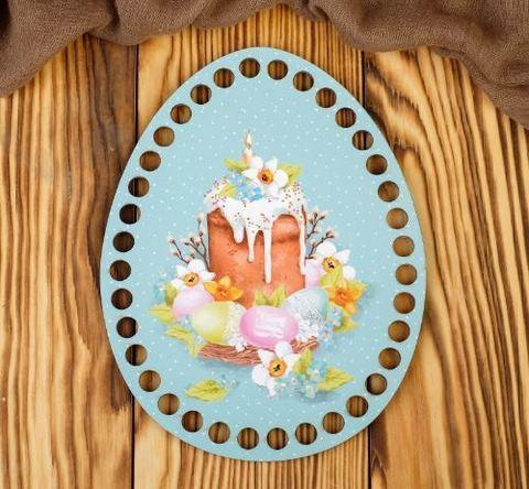 Пасхальное донышко  Кулич со свечой на голубом фоне 14х18 см