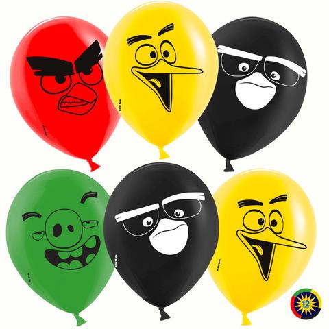 Воздушный шар (12''/30 см) Angry Birds, Ассорти, пастель, 2 ст