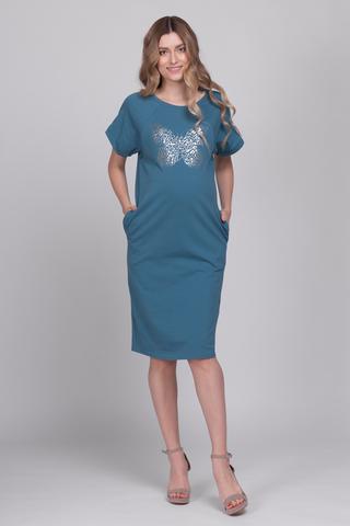 Платье для беременных и кормящих 11708 морская волна