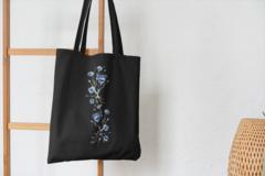 Сумка-шоппер с принтом Цветы (Васильки) черная 002