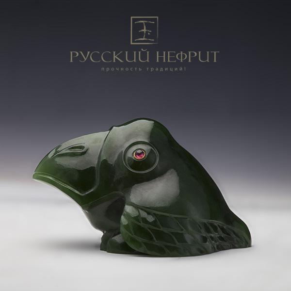 Резьба, статуэтки Галчонок из зелёного нефрита. Galchonok_green_inst.jpg