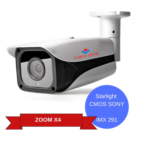 Уличная ZOOM  камера наблюдения 2Mp технология STARLIGHT COLOR при 0,008lux  CAICO-TECH 5502 гибрид AHD, CVI, TVI, CVBS