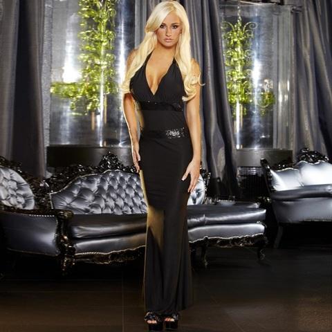 Черное вечернее платье в пол с открытой спиной - Hustler Lingerie GOWN4