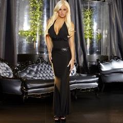 Черное вечернее платье в пол с открытой спиной -