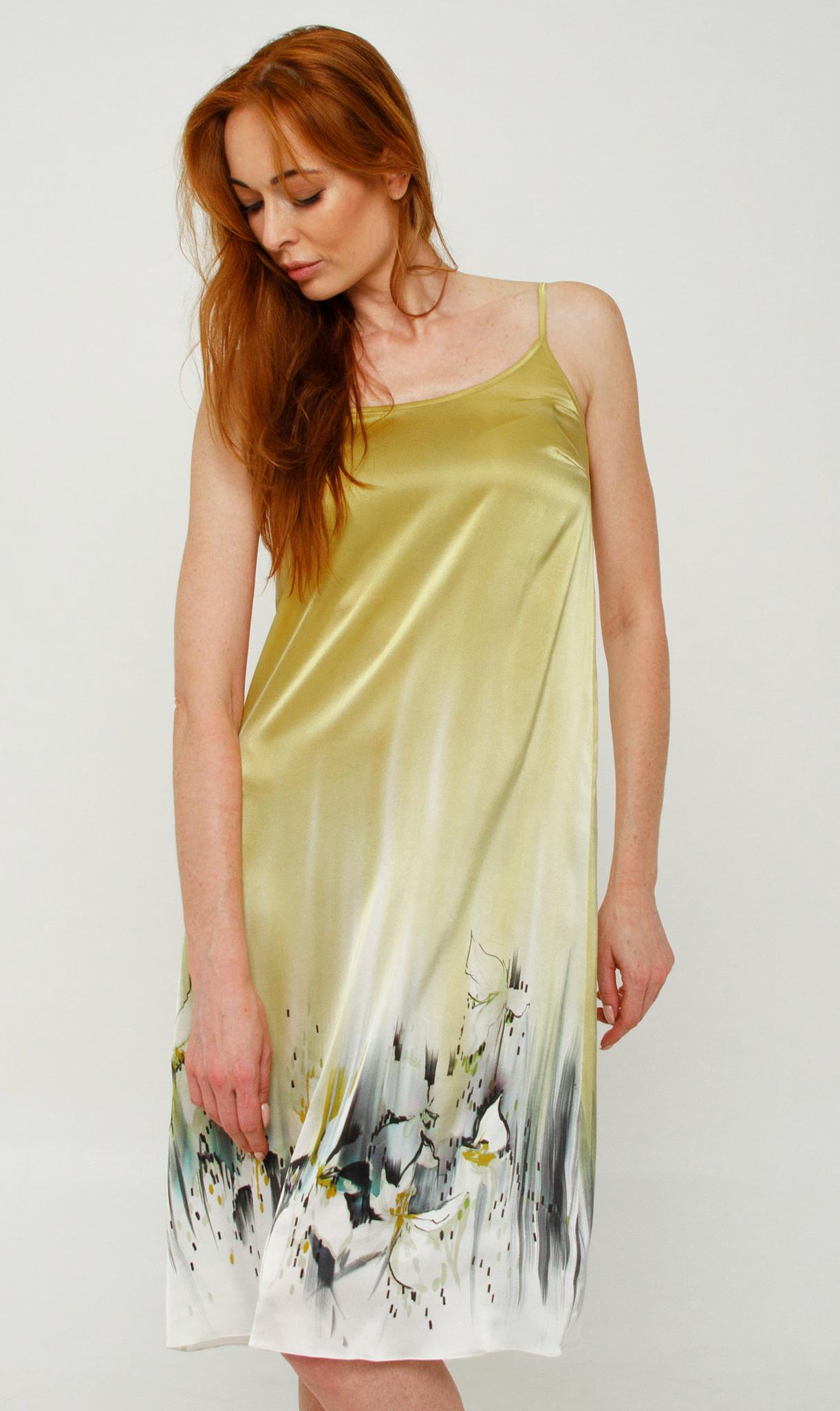 Платье из натурального шелка ручной росписи батик