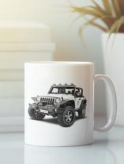 Кружка с рисунком Jeep (Джип) белая 009