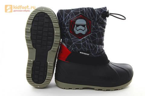 Зимние сапоги для мальчиков непромокаемые с резиновой галошей Звездные войны (Star Wars), цвет черный, Water Resistant. Изображение 9 из 16.