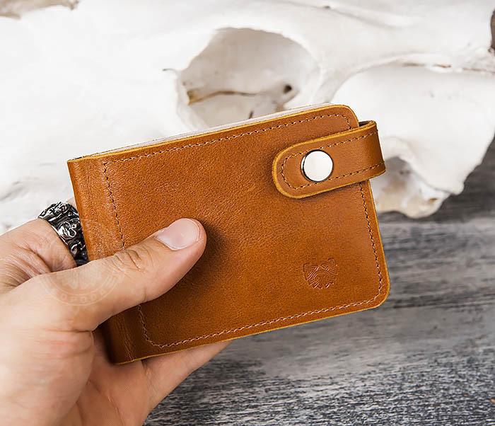 WB115-4 Кожаный зажим для денег ручной работы с застежкой фото 09
